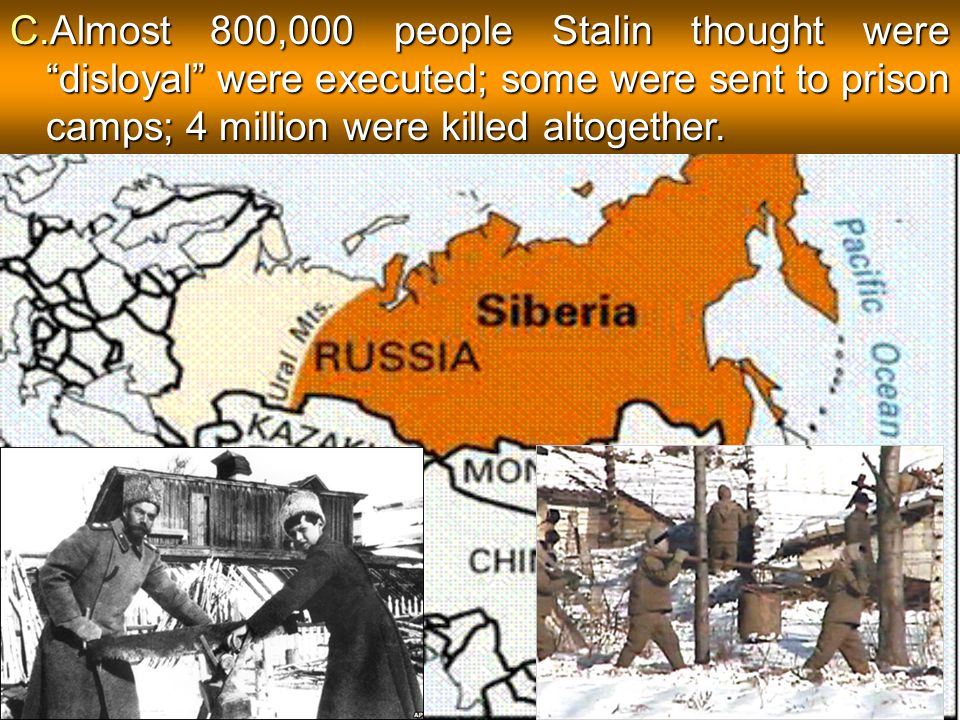 Almost 800,000 people Stalin thought were disloyal were executed; some were sent to prison camps; 4 million were killed altogether.