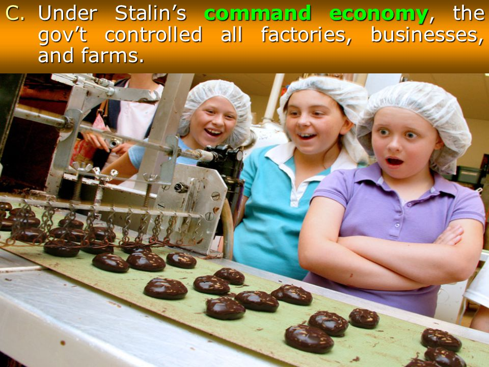 Under Stalin's command economy, the gov't controlled all factories, businesses, and farms.
