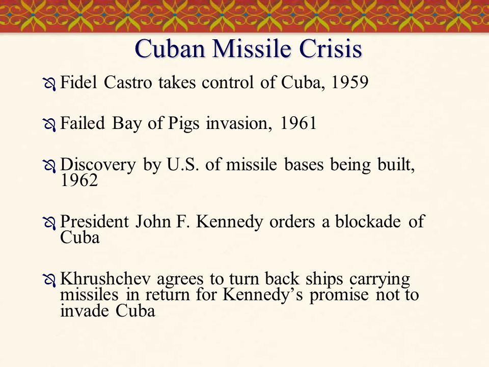 Cuban Missile Crisis Fidel Castro takes control of Cuba, 1959