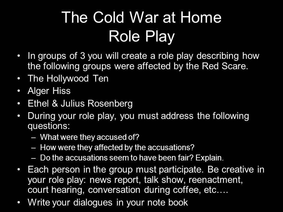 The Cold War at Home Role Play