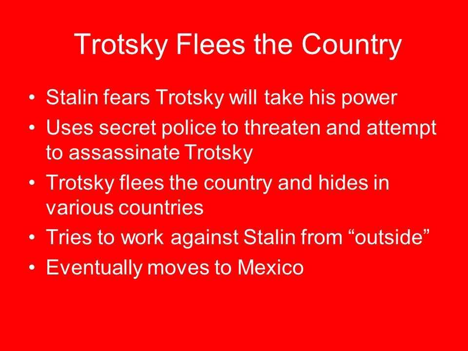 Trotsky Flees the Country