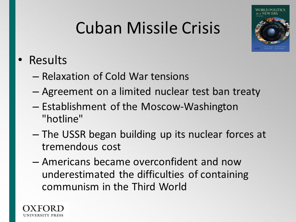 Cuban Missile Crisis Results Relaxation of Cold War tensions