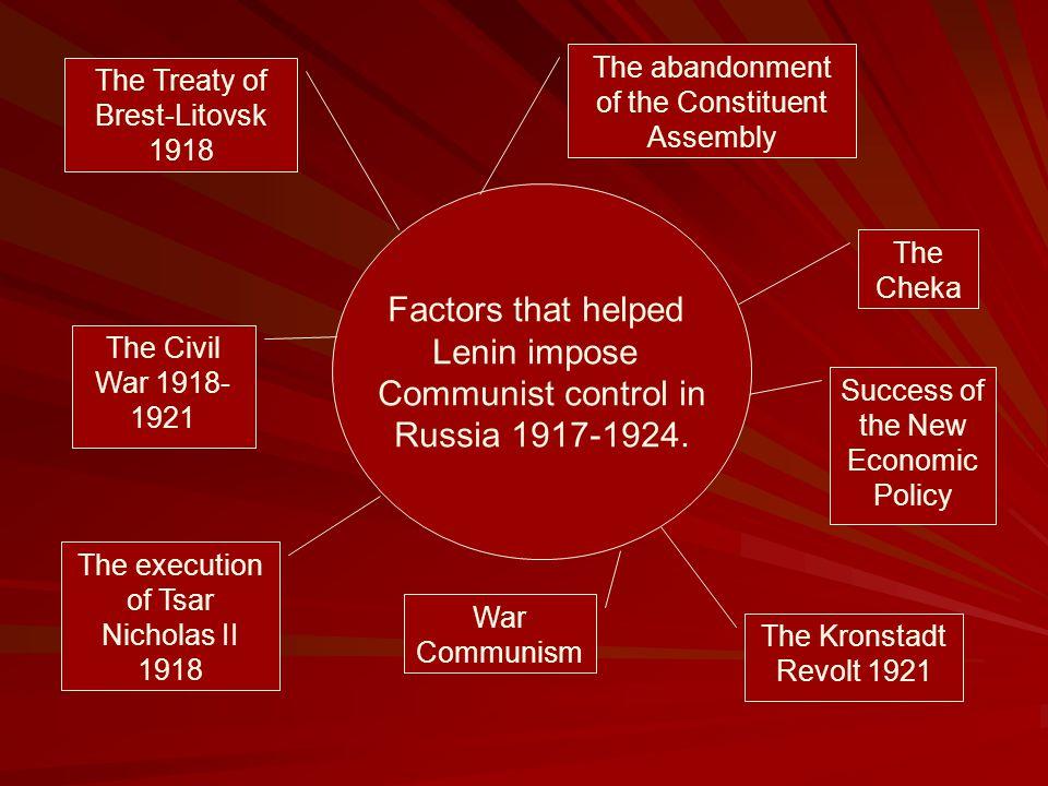 Factors that helped Lenin impose Communist control in