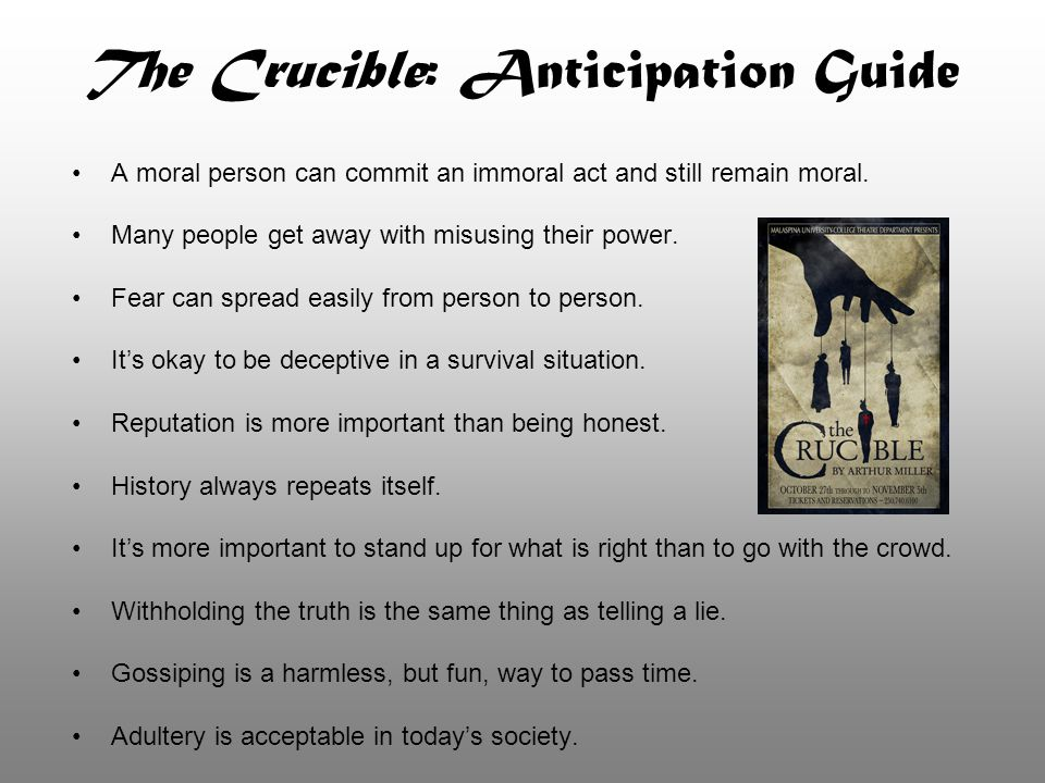 The Crucible: Anticipation Guide