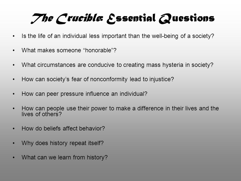 The Crucible: Essential Questions