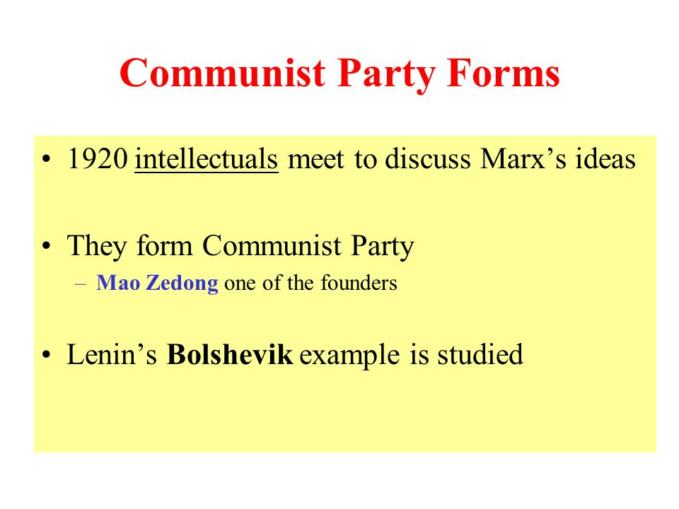 Communist Party Forms 1920 intellectuals meet to discuss Marx's ideas