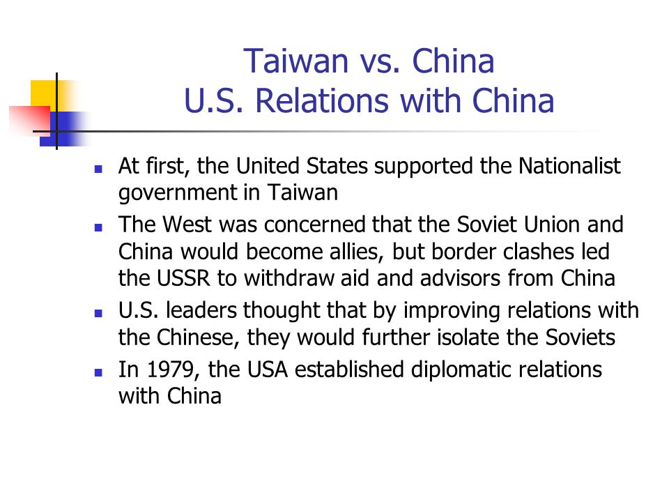 Taiwan vs. China U.S. Relations with China