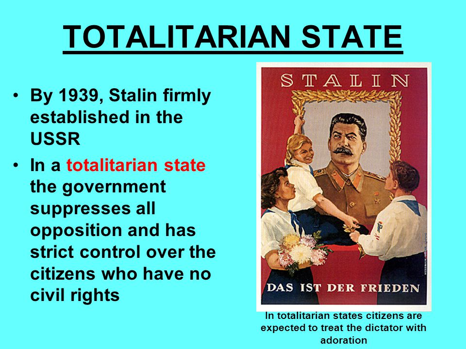 TOTALITARIAN STATE By 1939, Stalin firmly established in the USSR