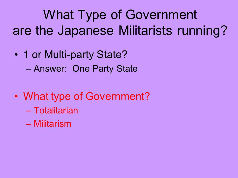 What Type of Government are the Japanese Militarists running