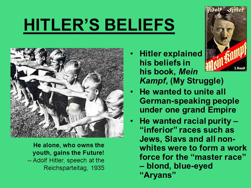 HITLER'S BELIEFS Hitler explained his beliefs in his book, Mein Kampf, (My Struggle)