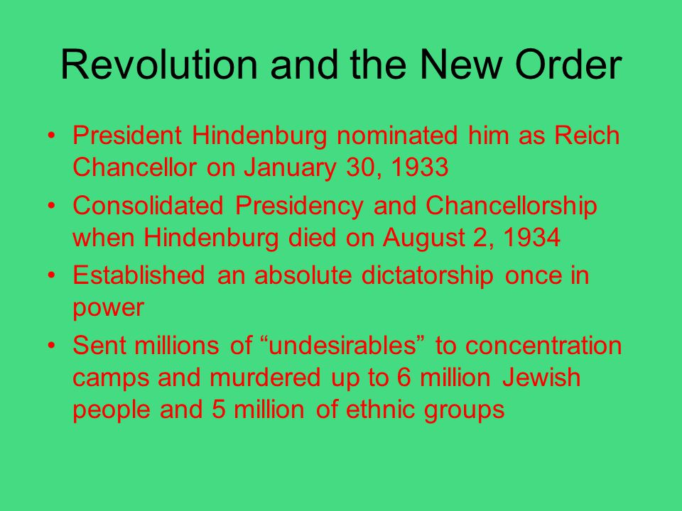 Revolution and the New Order