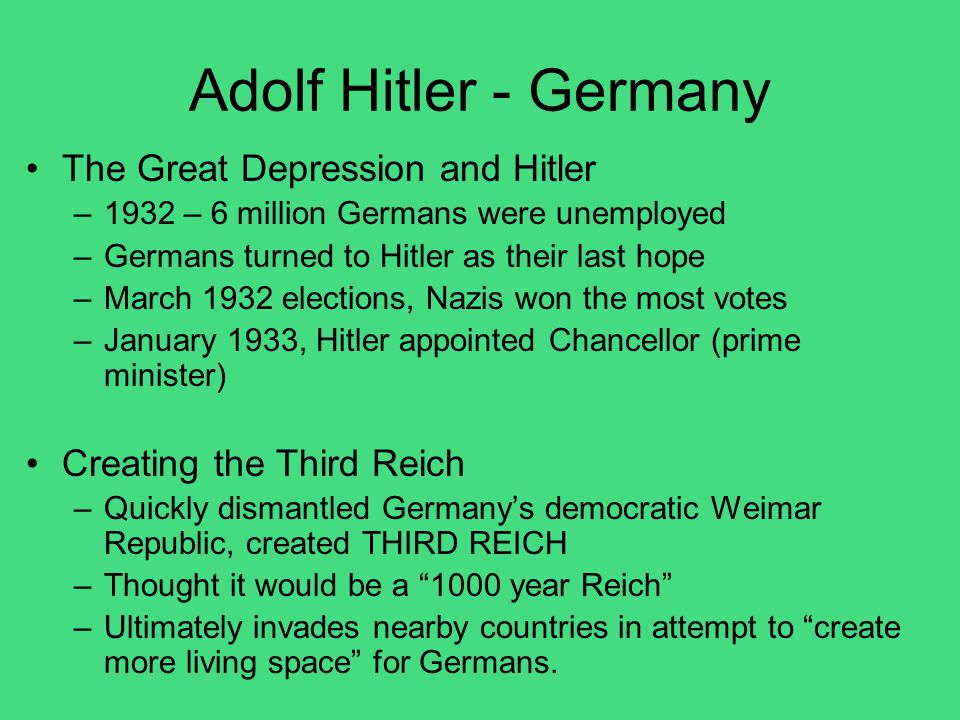 Adolf Hitler - Germany The Great Depression and Hitler