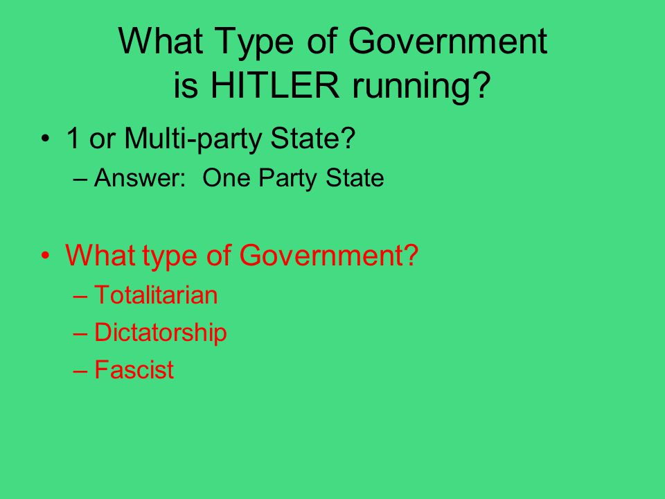 What Type of Government is HITLER running