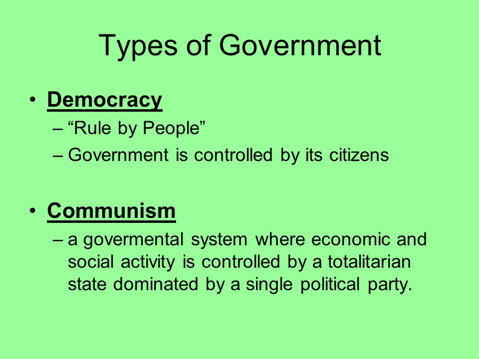 Types of Government Democracy Communism Rule by People