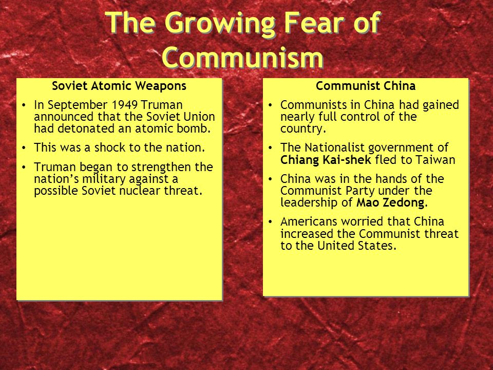 the threat and fear of communism in america Toward the end of world war ii, democrats were criticized as being too tepid about the threat that international communism was coming home to america.