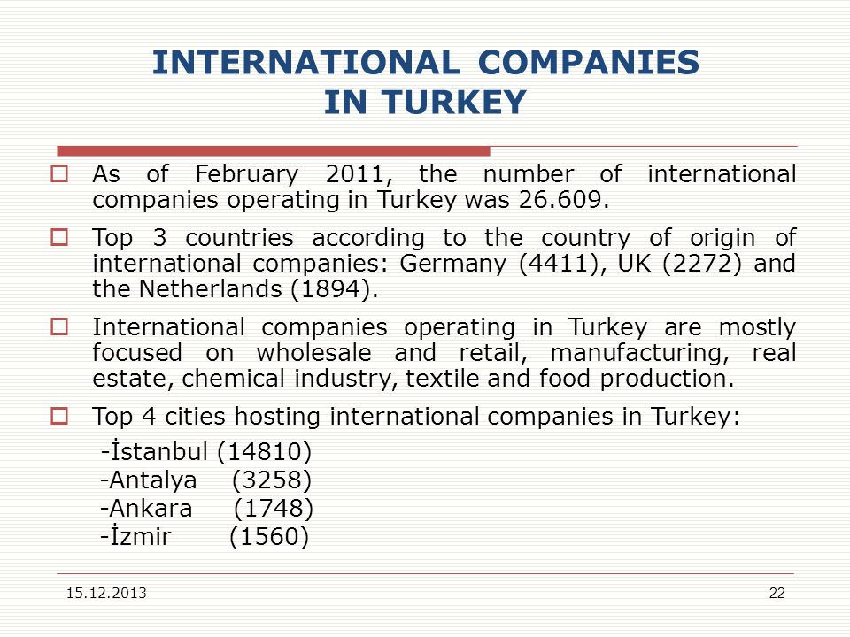 INTERNATIONAL COMPANIES IN TURKEY