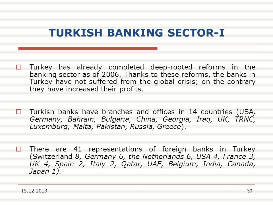 TURKISH BANKING SECTOR-I
