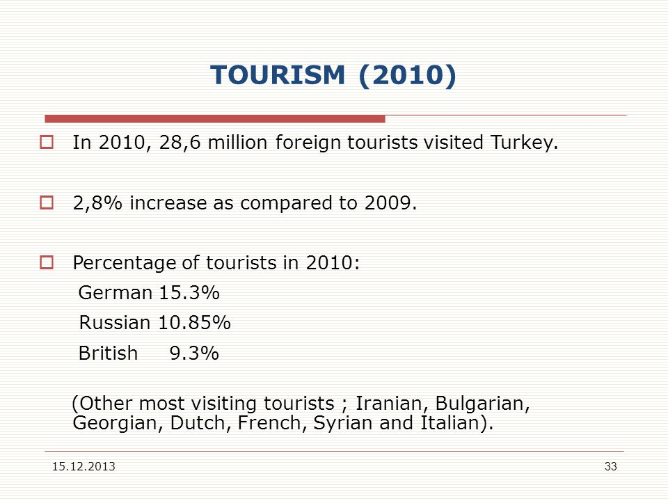 TOURISM (2010) In 2010, 28,6 million foreign tourists visited Turkey.