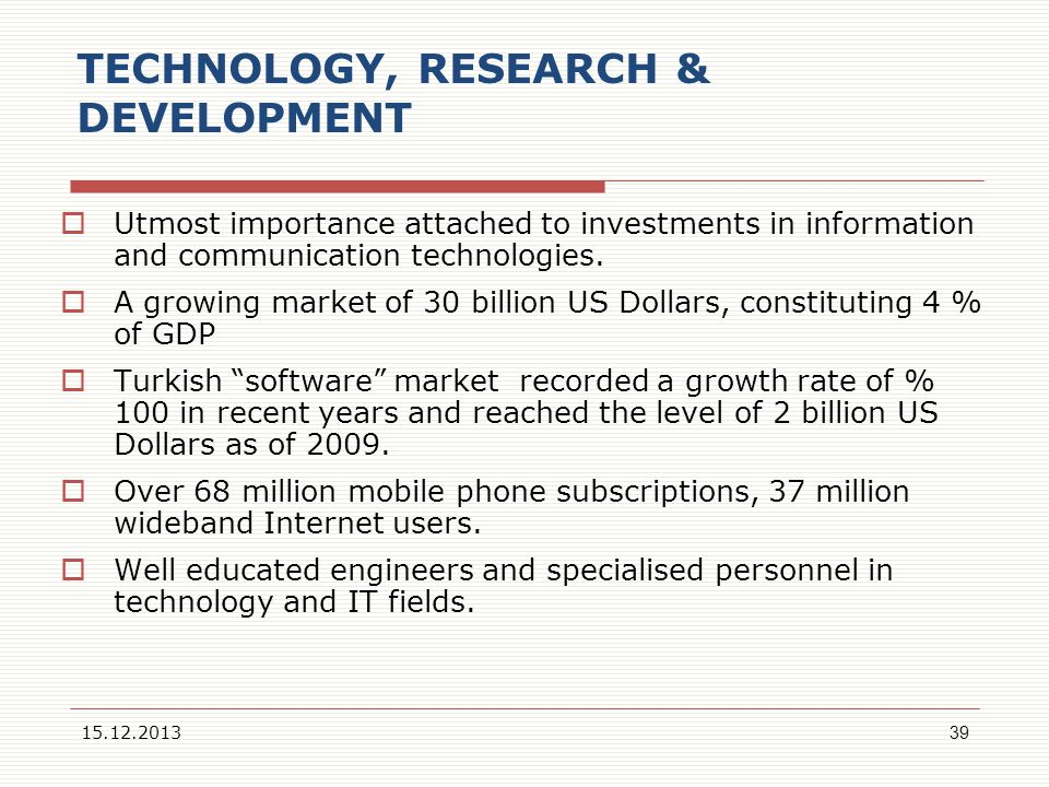 TECHNOLOGY, RESEARCH & DEVELOPMENT