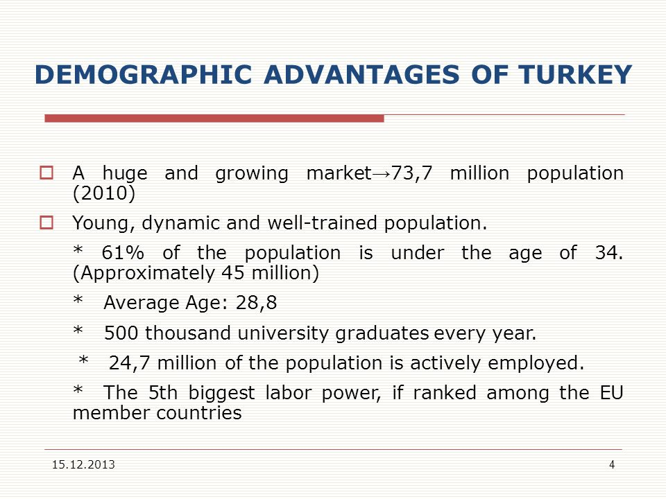 DEMOGRAPHIC ADVANTAGES OF TURKEY