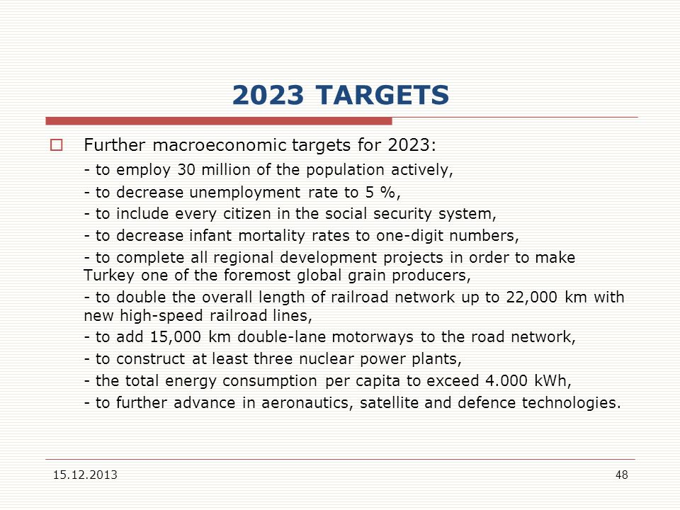 2023 TARGETS Further macroeconomic targets for 2023: