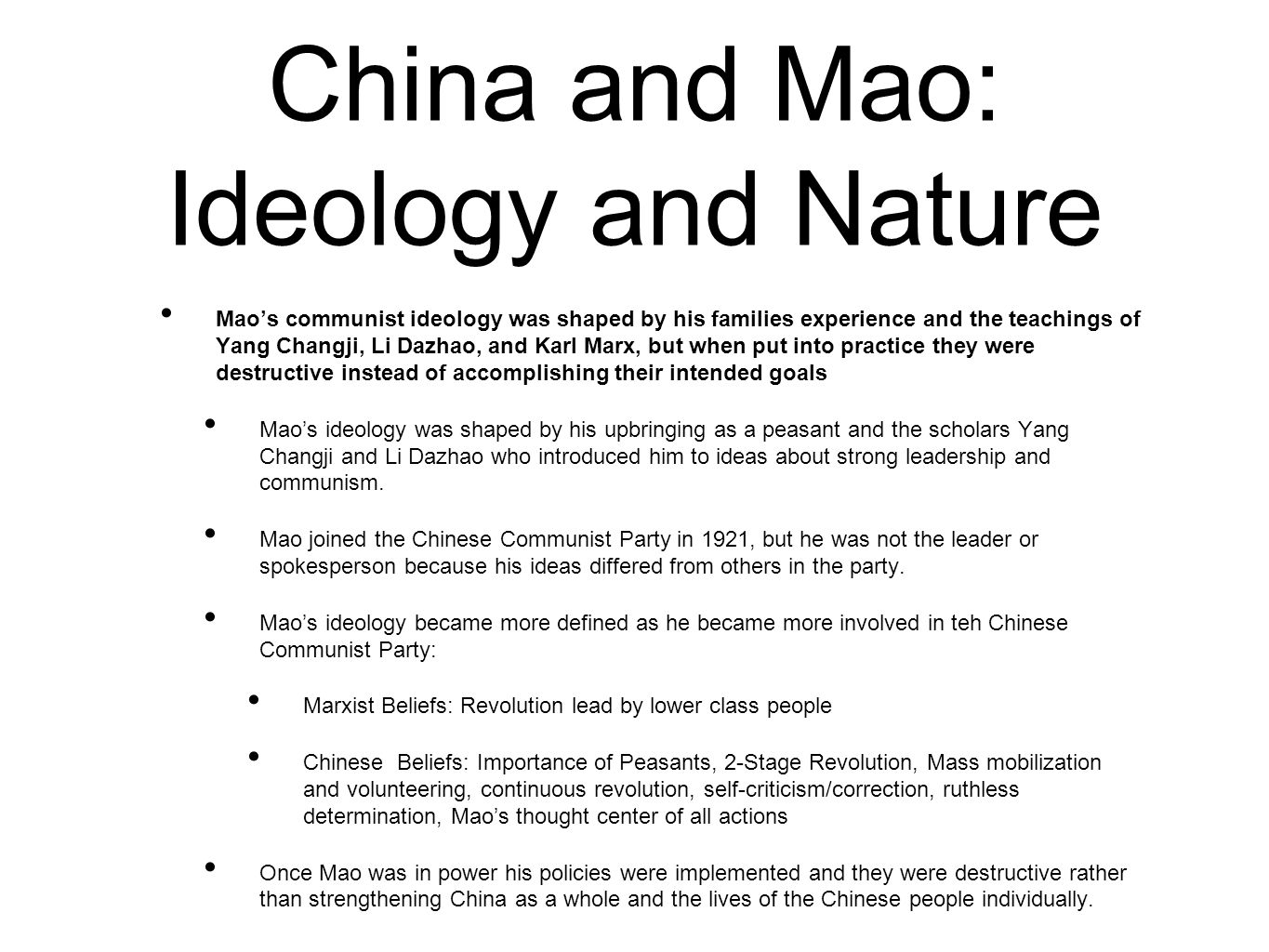 China and Mao: Ideology and Nature