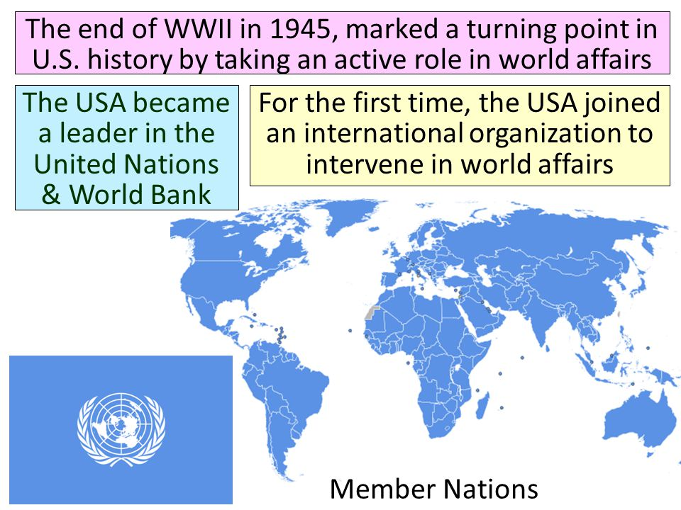 The USA became a leader in the United Nations & World Bank