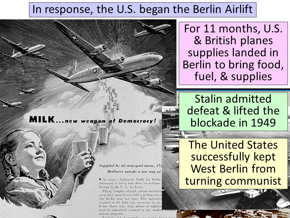 In response, the U.S. began the Berlin Airlift