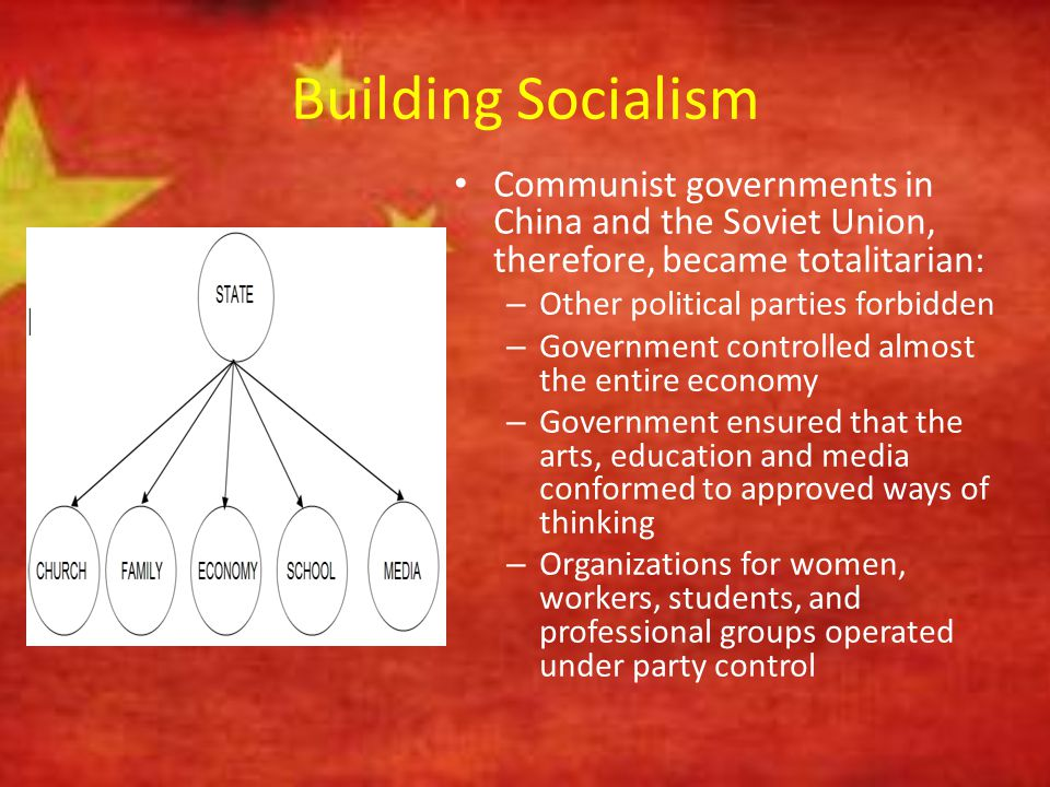 Building Socialism Communist governments in China and the Soviet Union, therefore, became totalitarian: