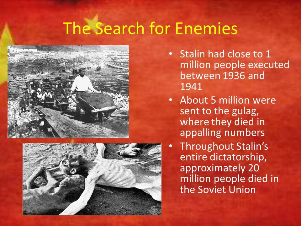 The Search for Enemies Stalin had close to 1 million people executed between 1936 and 1941.