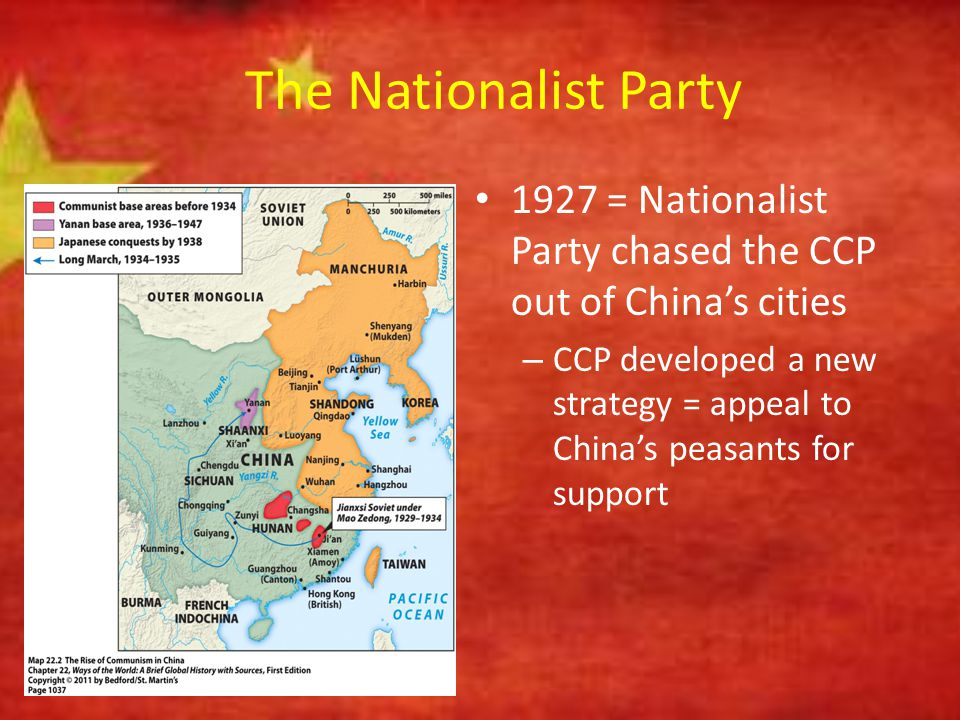 The Nationalist Party 1927 = Nationalist Party chased the CCP out of China's cities.