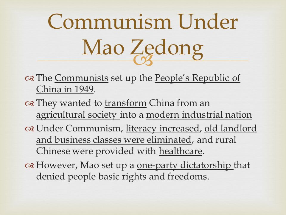 Communism Under Mao Zedong