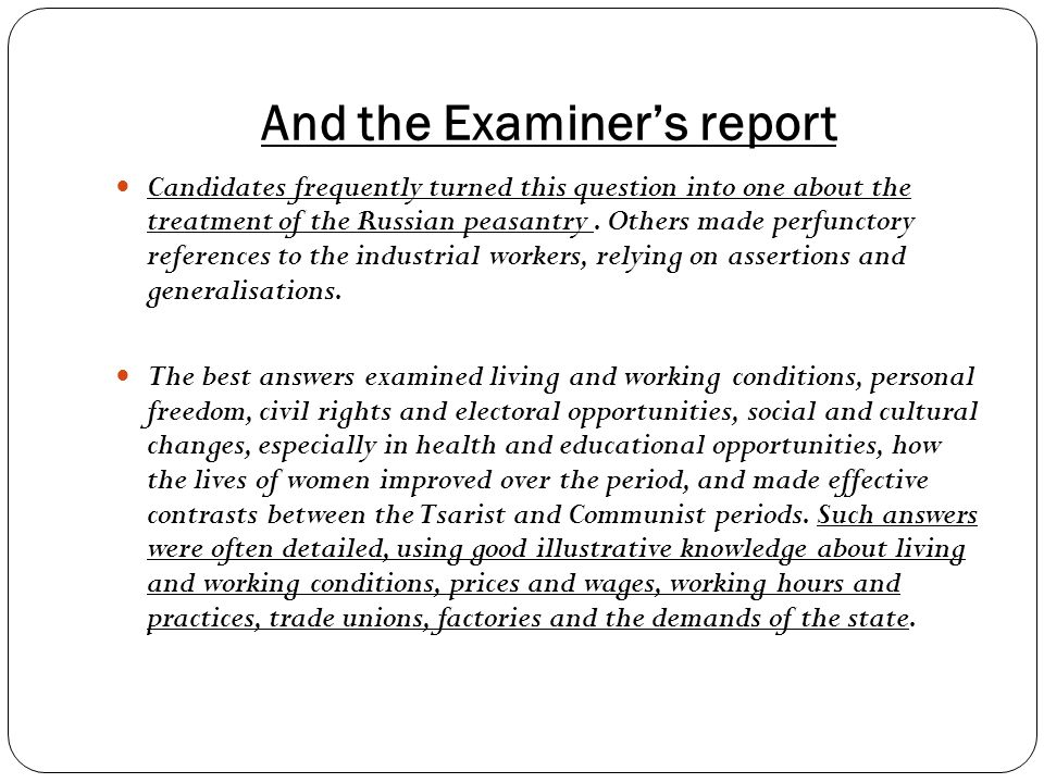 And the Examiner's report