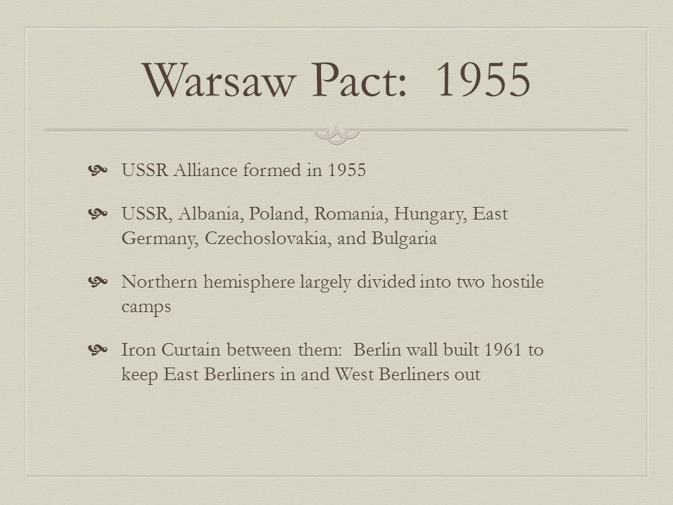 Warsaw Pact: 1955 USSR Alliance formed in 1955
