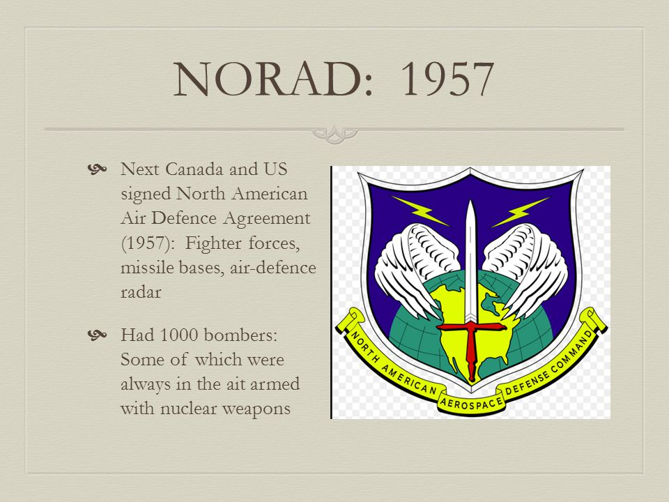 NORAD: 1957 Next Canada and US signed North American Air Defence Agreement (1957): Fighter forces, missile bases, air-defence radar.