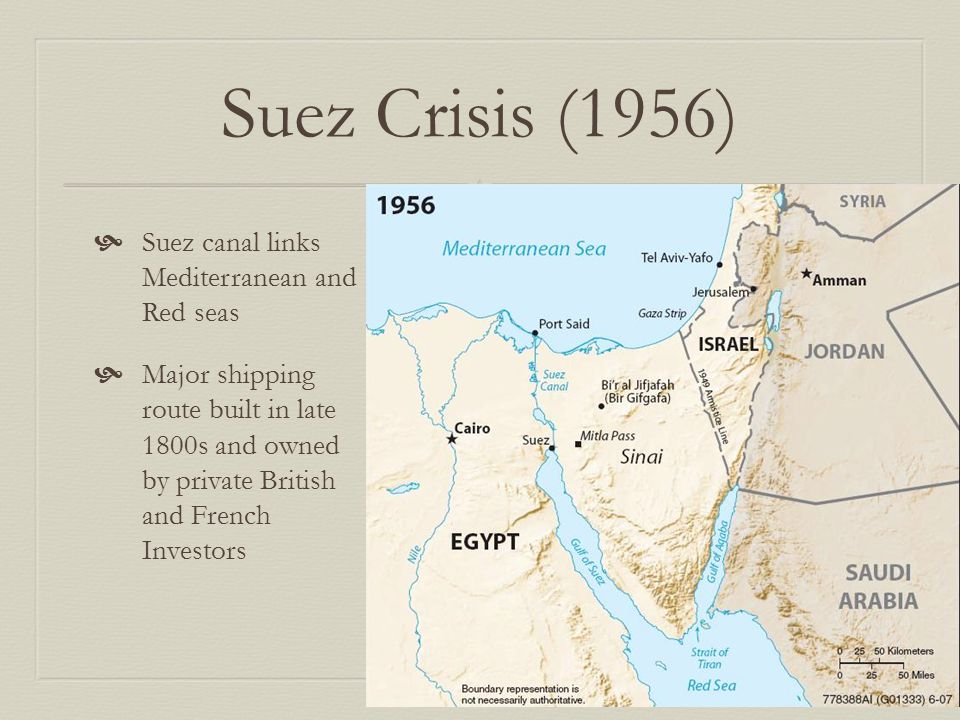Suez Crisis (1956) Suez canal links Mediterranean and Red seas