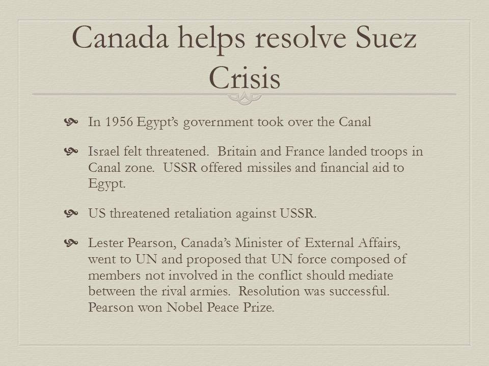 Canada helps resolve Suez Crisis