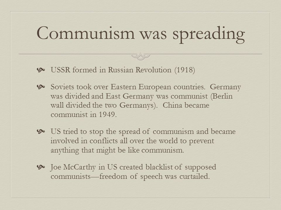 Communism was spreading