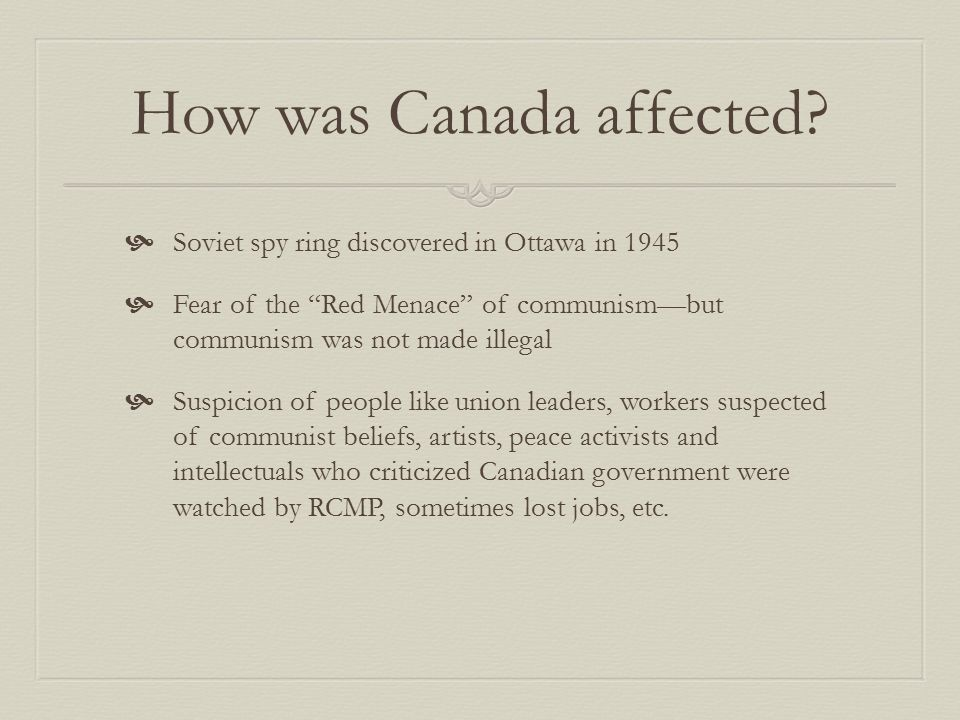 How was Canada affected