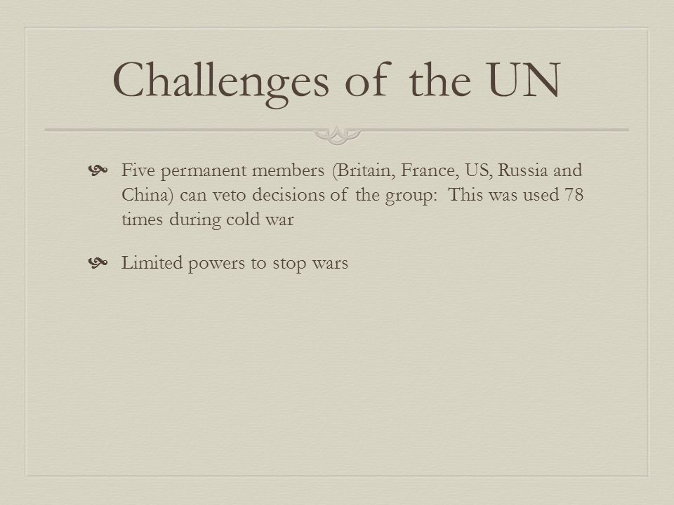 Challenges of the UN