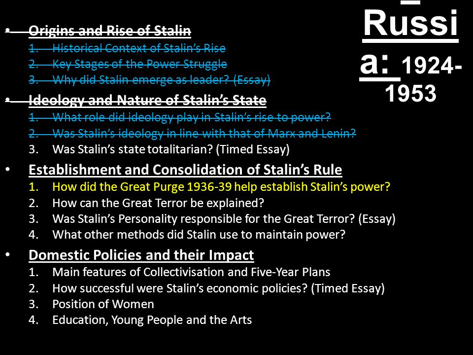 Stalin's Russia: 1924-1953 Origins and Rise of Stalin