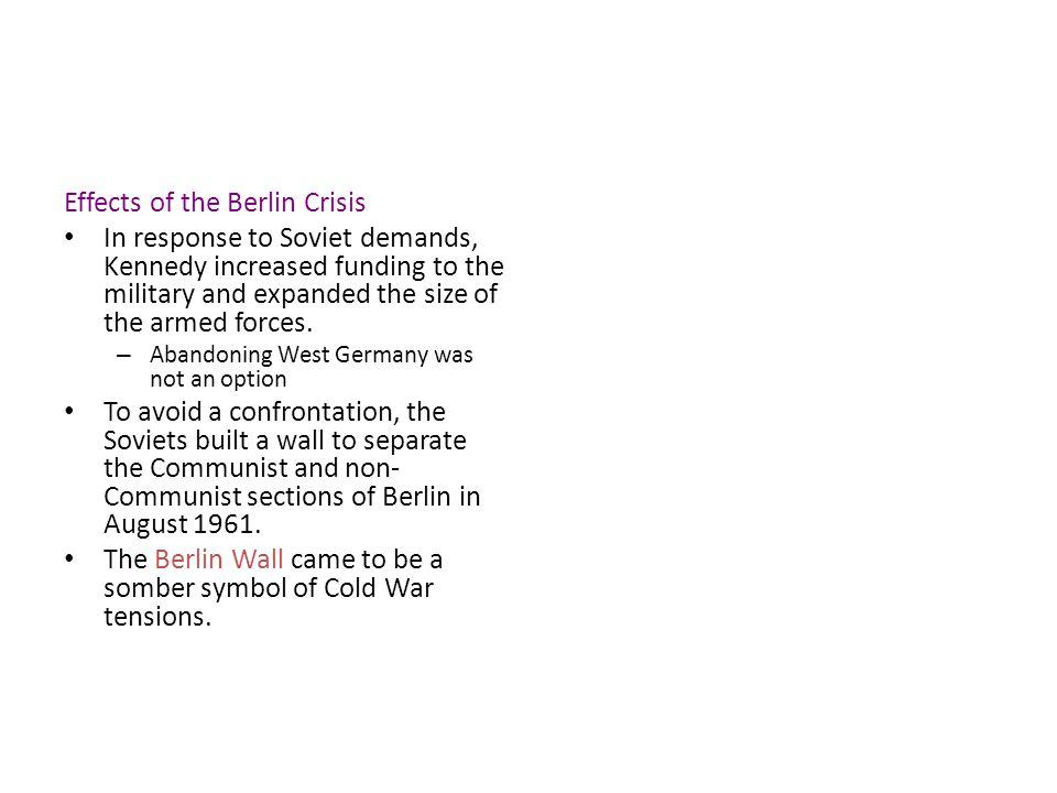 Effects of the Berlin Crisis