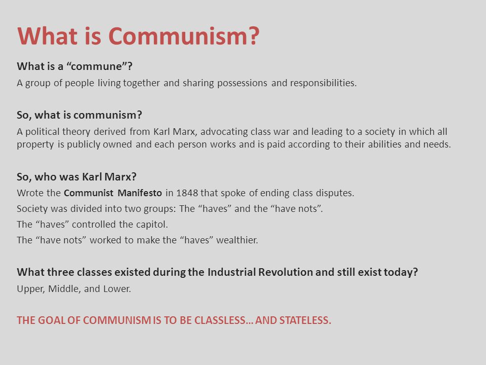 What is Communism What is a commune So, what is communism