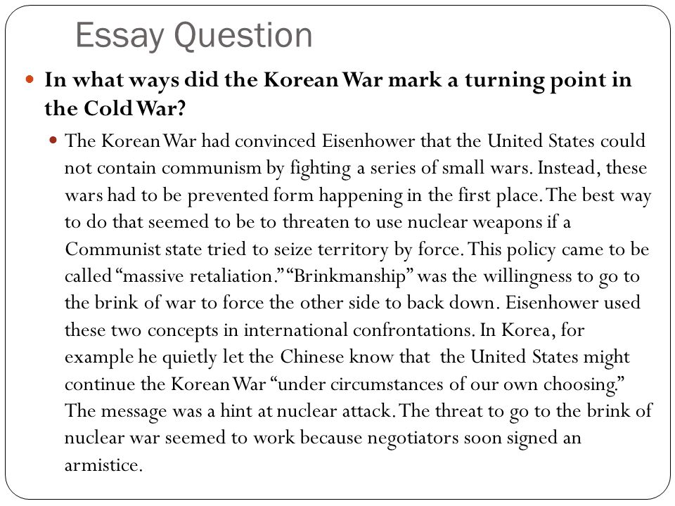 the early cold war years ppt video online  essay question in what ways did the korean war mark a turning point in the cold