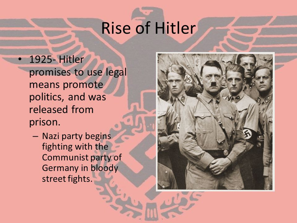 Rise of Hitler 1925- Hitler promises to use legal means promote politics, and was released from prison.