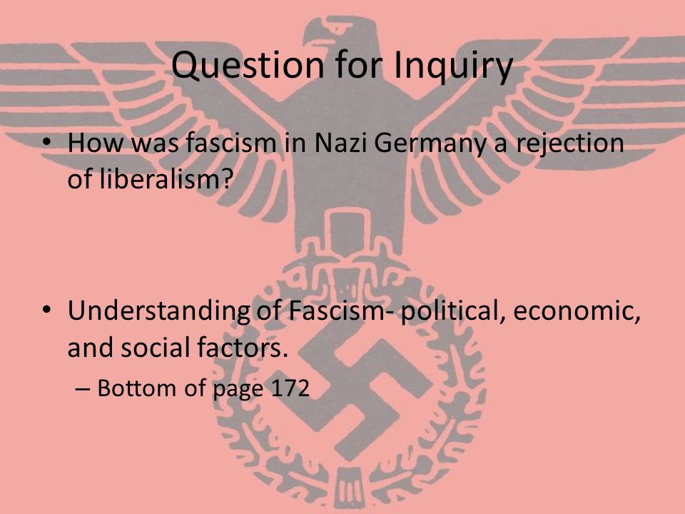 Question for Inquiry How was fascism in Nazi Germany a rejection of liberalism Understanding of Fascism- political, economic, and social factors.