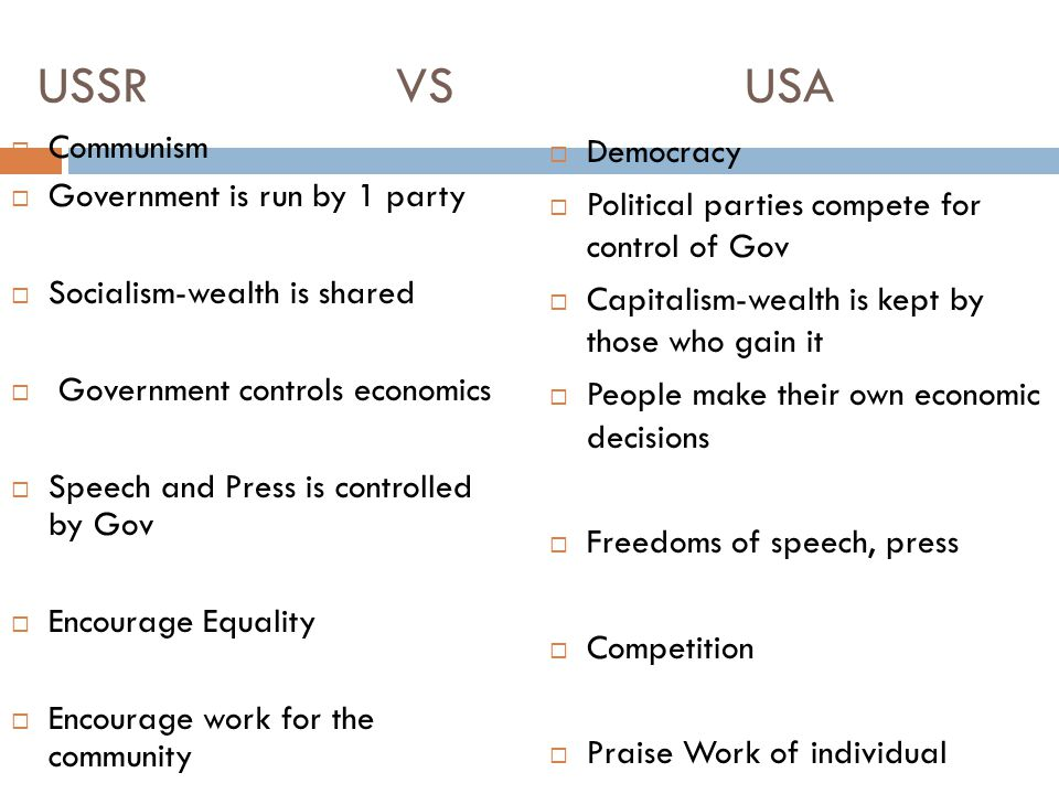USSR VS USA Communism Government is run by 1 party