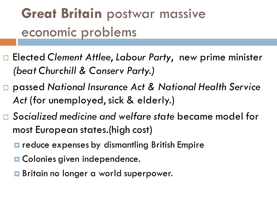 Great Britain postwar massive economic problems