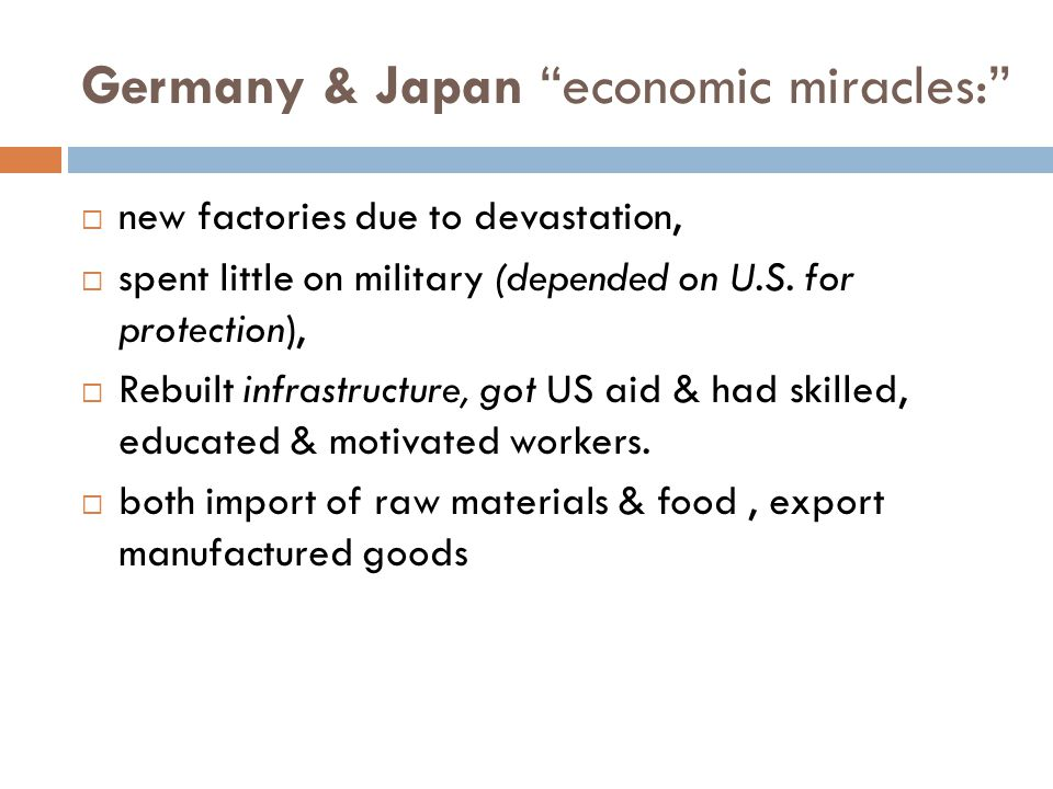 Germany & Japan economic miracles: