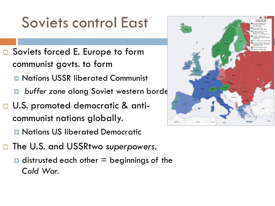 Soviets control East Soviets forced E. Europe to form communist govts. to form. Nations USSR liberated Communist.
